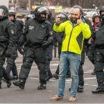 Selfie à Francfort le 18 mars 2015 à la fin de la manifestation suscitée par l'inauguration du nouveau siège de la BCE.